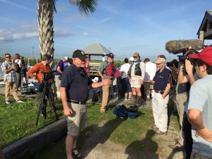 David Muth with the National Wildlife Federation gives an overview of the tour at the Myrtle Grove Marina.