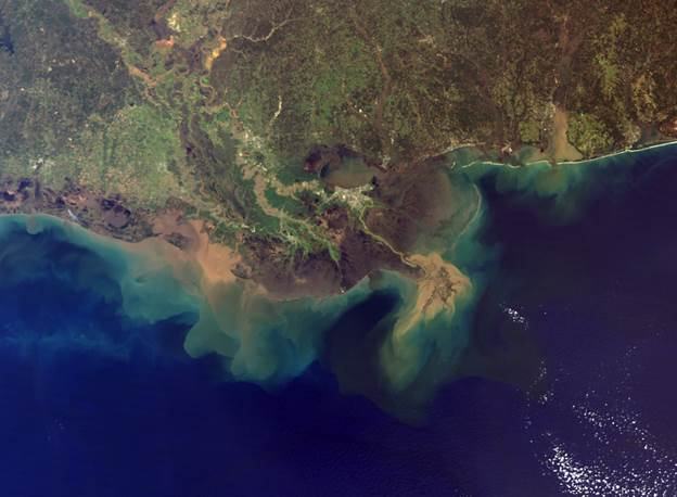 Louisiana Delta sediment plume