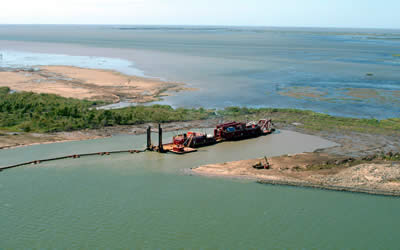 New land built through West Bay diversion via lacoast.gov.