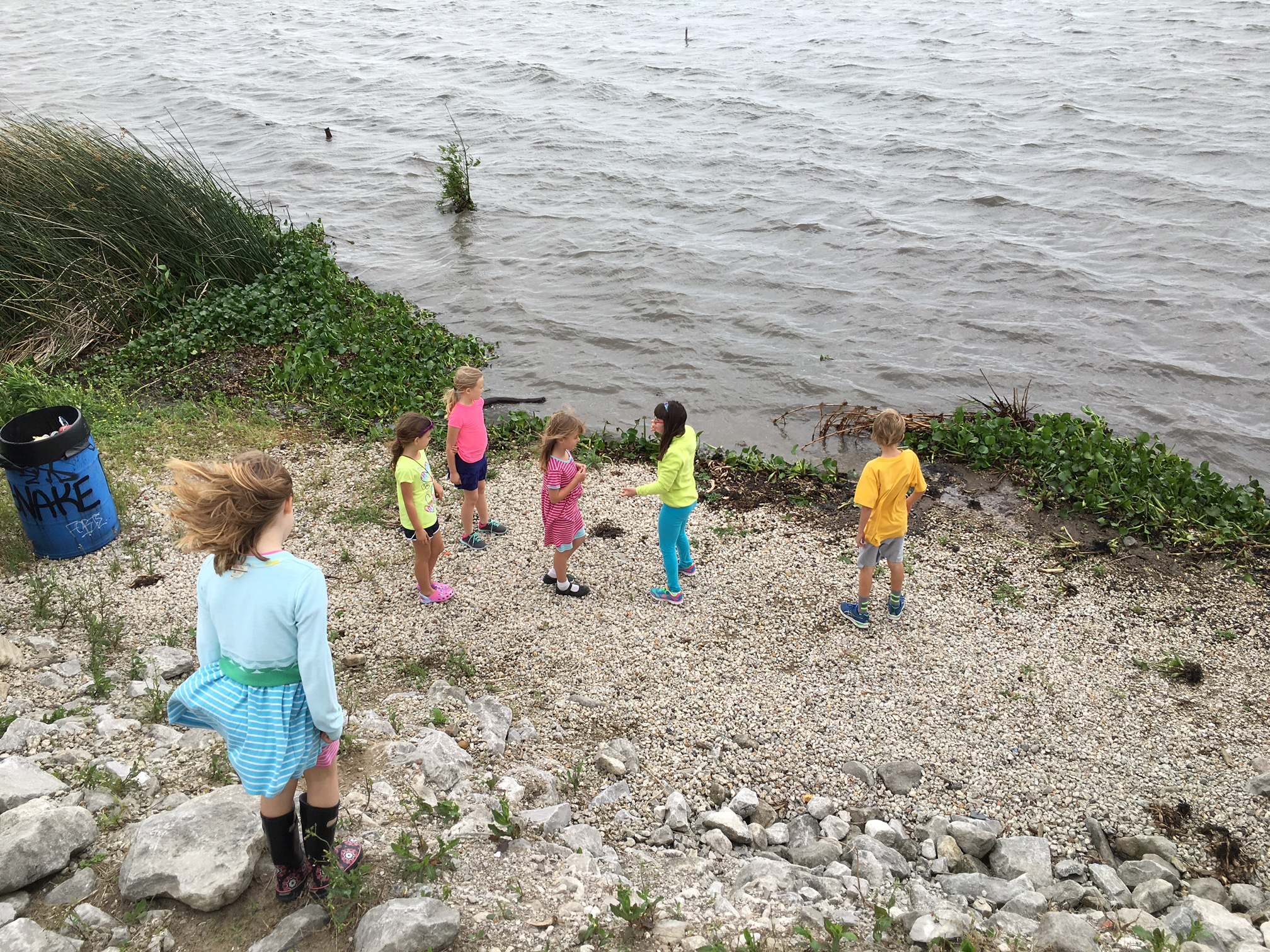 Rayne Memorial UMC children exploring Bayou Bienvenue.