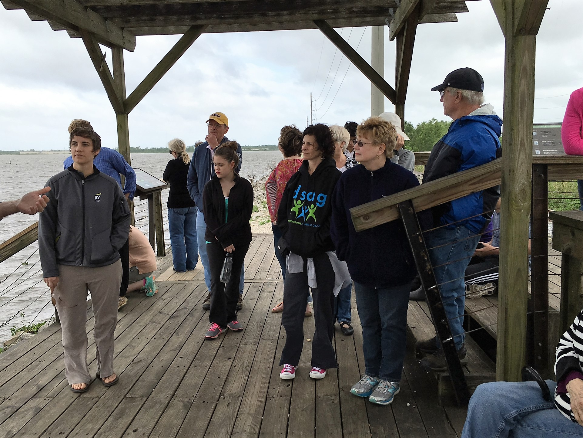 Rayne Memorial United Methodist Church group learning about coastal issues and restoration methods.