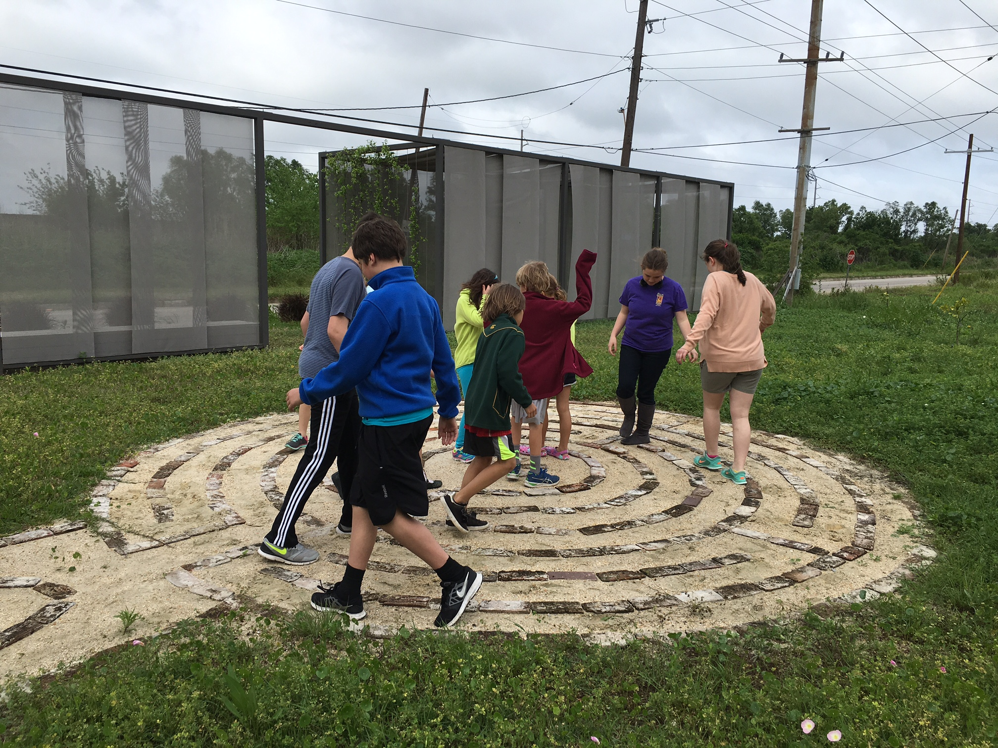 Kids playing on the CSED Labyrinth during the field trip.