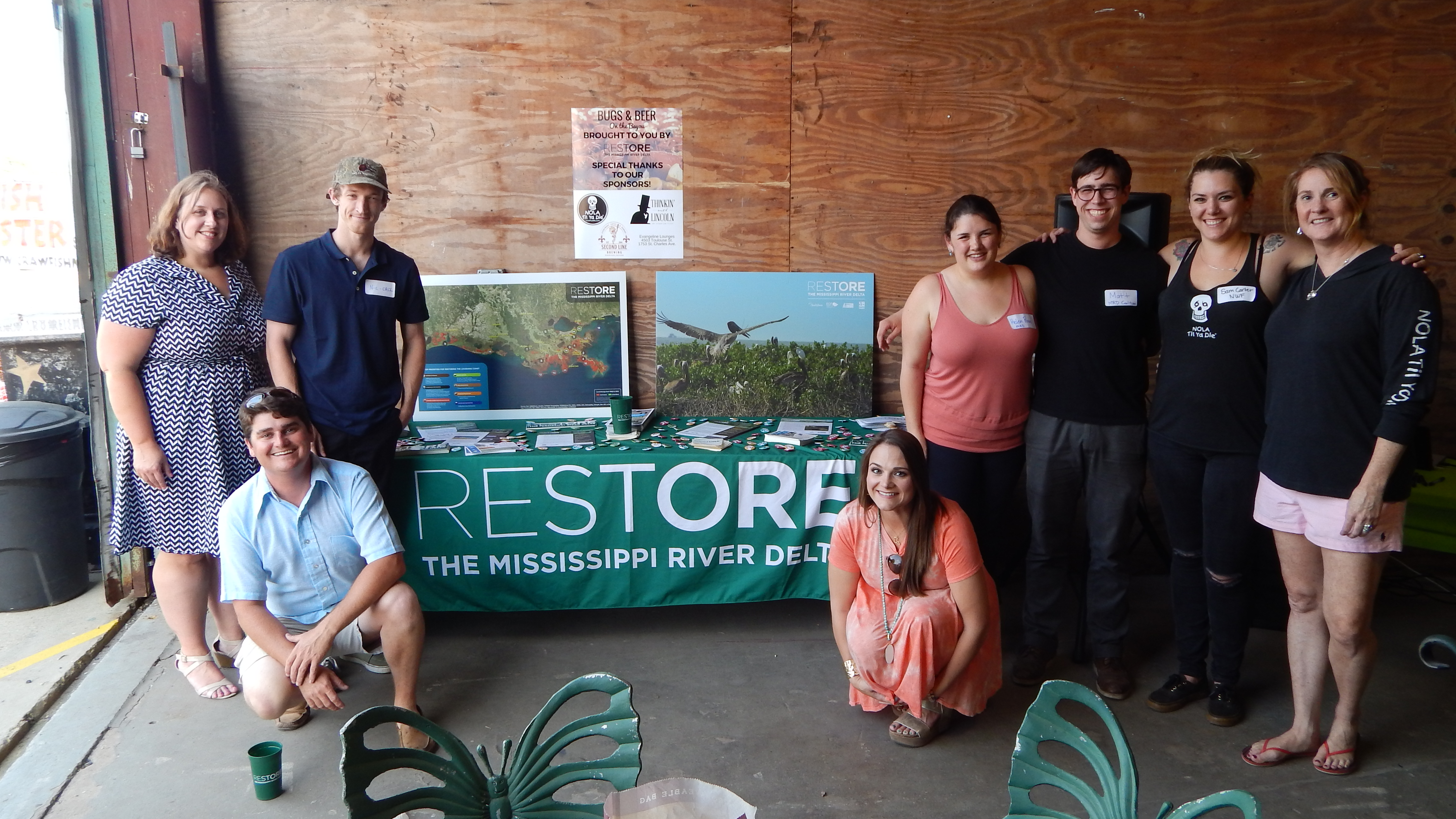 Kassy McCall, on the far right, with Restore the Mississippi River Delta staff at Bugs & Beer on the Bayou