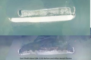 East Shell Island before and after - Restore the Mississippi River Delta