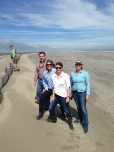 Simone Maloz (in white) standing on the newly restored Caminada Headland.