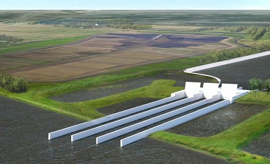 A rendering of what a future sediment diversion project may look like. Credit: CPRA