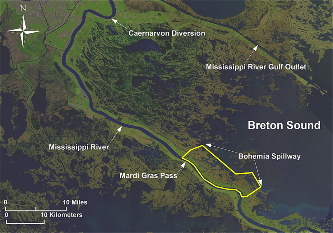 Map of Breton Sound Estuary showing bounding water bodies as well as location of Mardi Gras Pass and Bohemia Spillway within the estuary. Credit: LPBF.