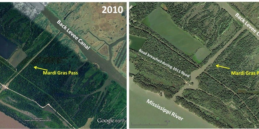 Aerial view in 2010 (left) before Mardi Gras Passbegan to develop and in 2016 (right), which has grown by 13 acres since its inception in 2012. Credit: LPBF.