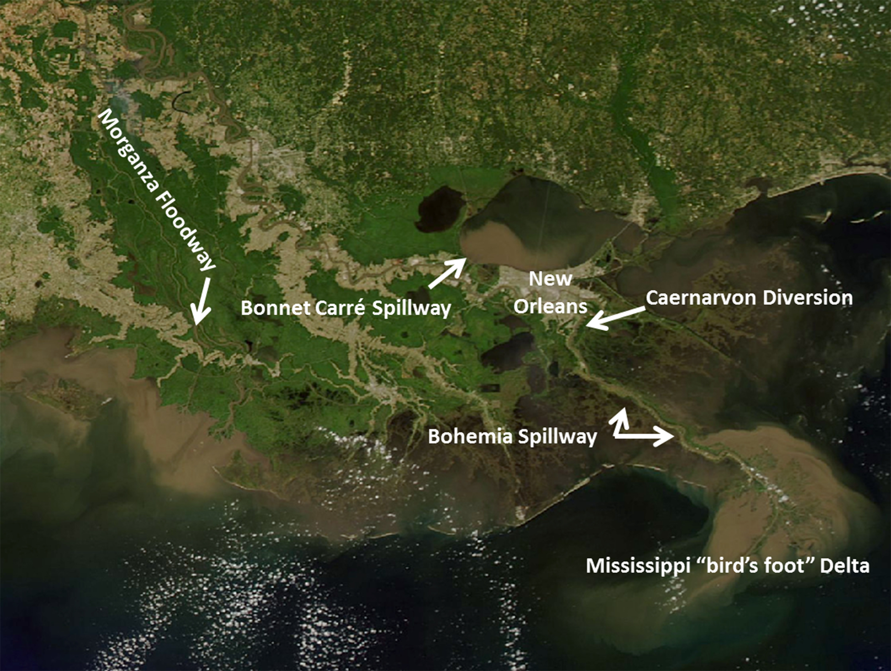 Location of the Caernarvon Diversion and Bohemia Spillway in relation to New Orleans and other river outlets.