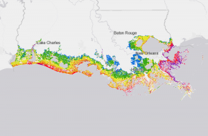 Flood risk in 50 years without the Coastal Master Plan