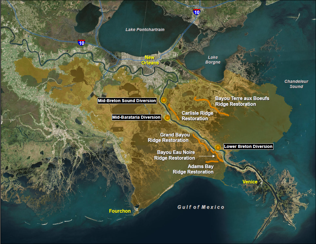 Location of the noted diversion and ridge restoration projects along the Mississippi River in Plaquemines Parish. The gold shading shows the influence area of the diversions.