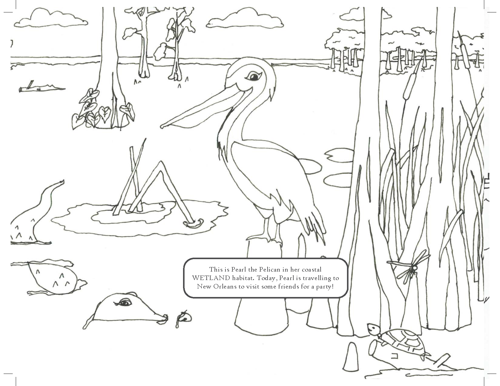 Page from water infrastructure in new orleans a coloring book illustrated by amelia broussard