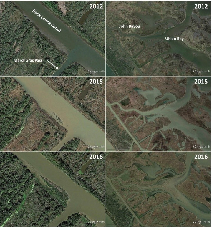 Land Building at the mouth of Mardi Gras Pass (left) and shallowing and land building in Uhlan Bay (right). Credit: LPBF.